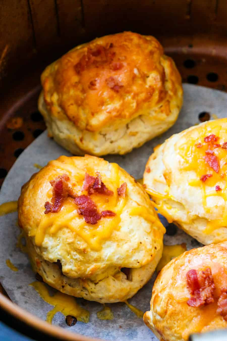Cooked Stuffed Biscuits in air fryer.