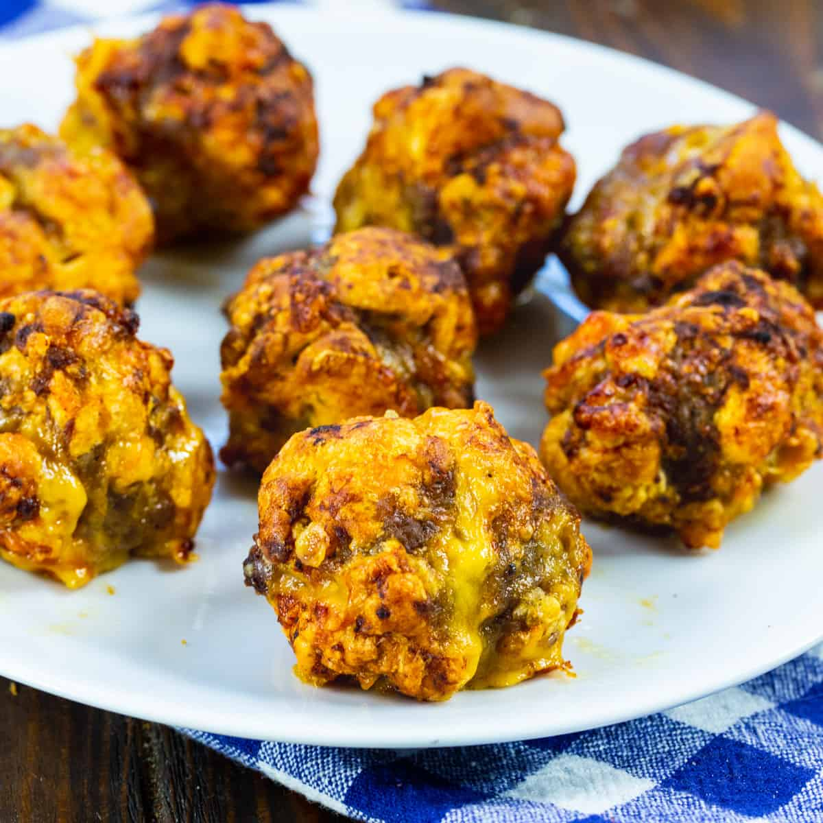 Air Fryer Sausage Crescent Cheese Balls on a plate.