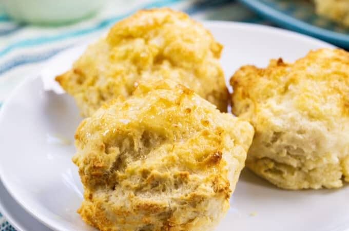 Three Buttermilk Drop Biscuits on a plate.