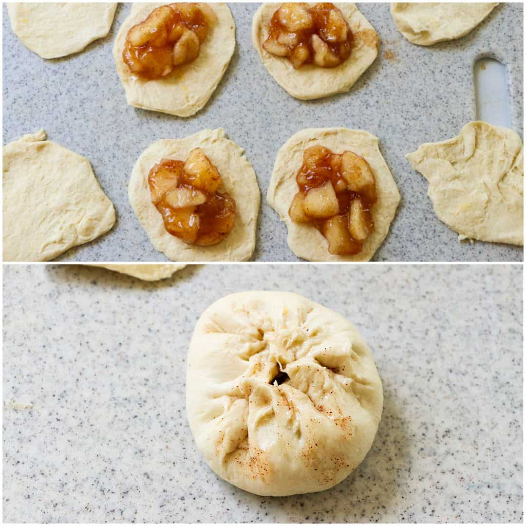 Apple pie filling placed on each biscuit.