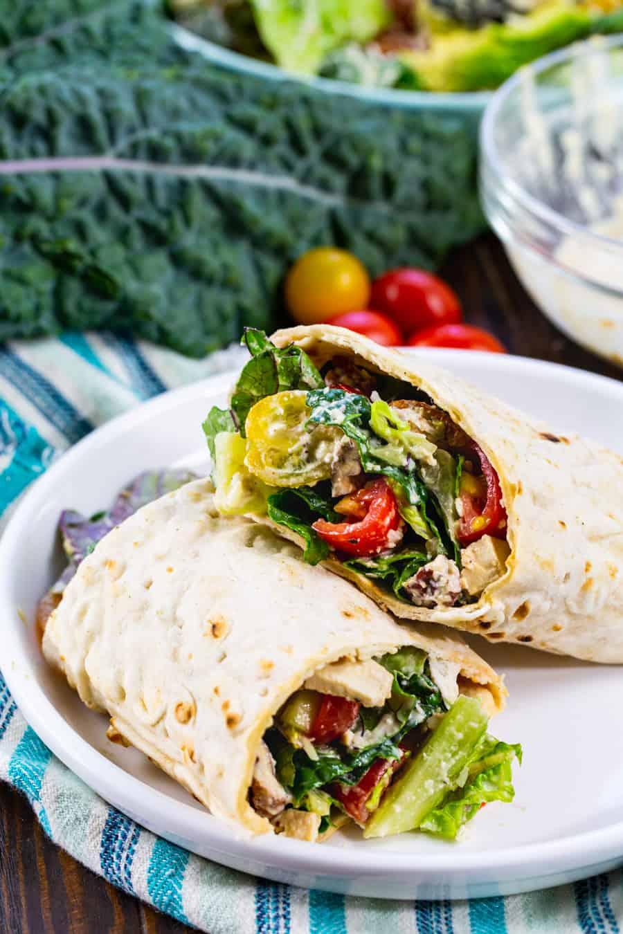 Vegan Kale Caesar Roll-Up on a plate.