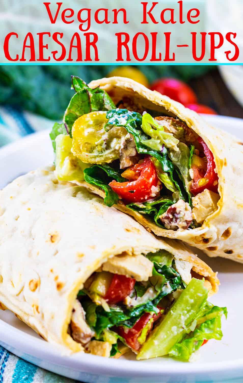 Vegan Kale Caesar Salad Wrap on a plate.