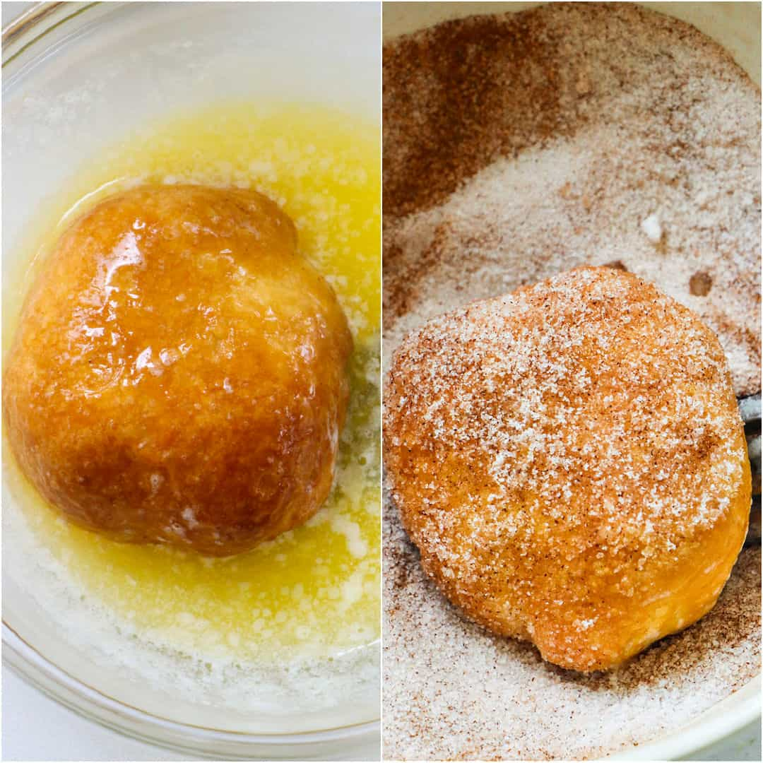 Collage showing a stuffed biscuit getting dipped in melted butter and then coated in cinnamon sugar.
