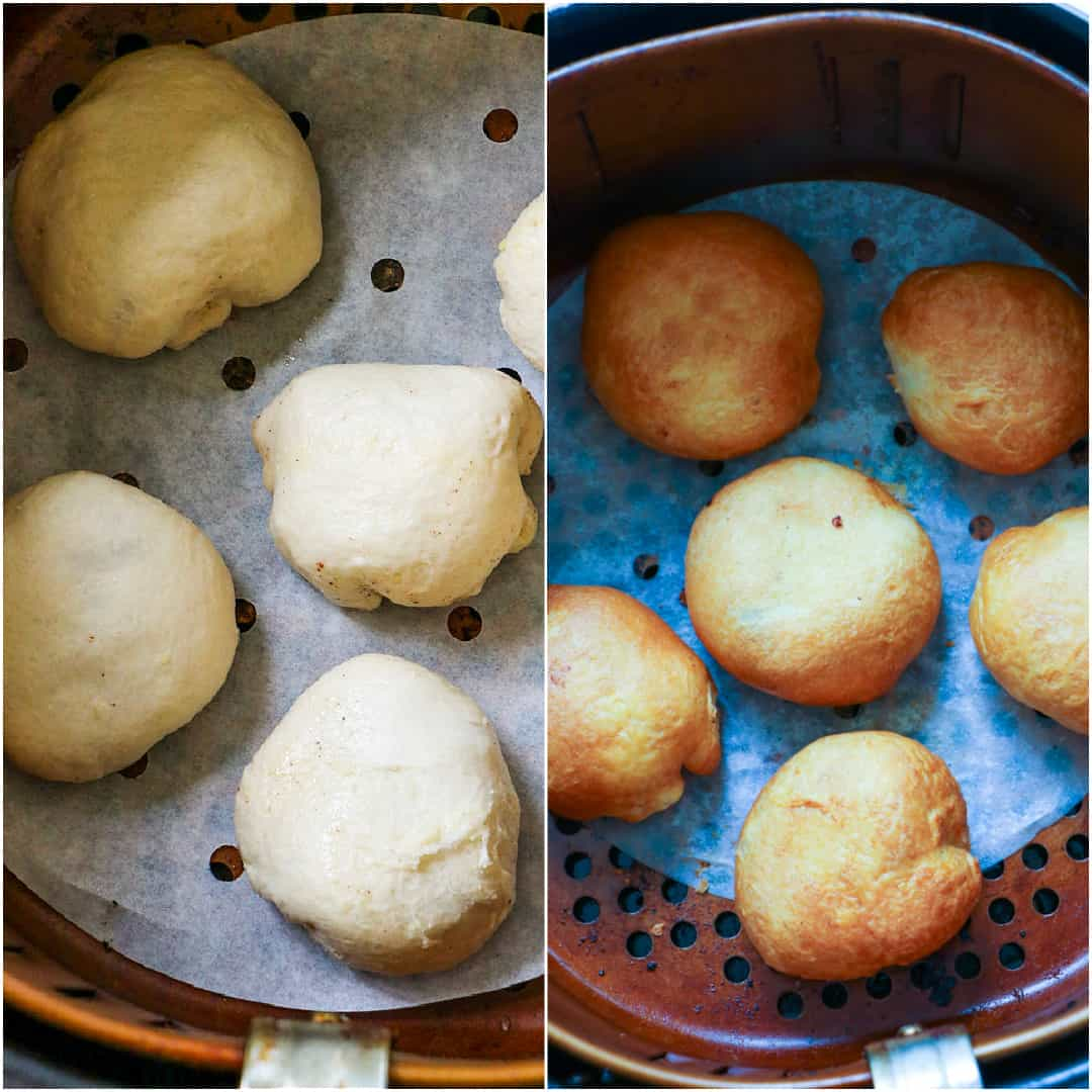 Collage showing uncooked fritters in air fryer and cooked fritters in air fryer.